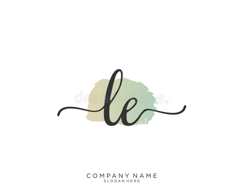 Concepto del logotipo de la escritura de LE Initial ilustración del vector