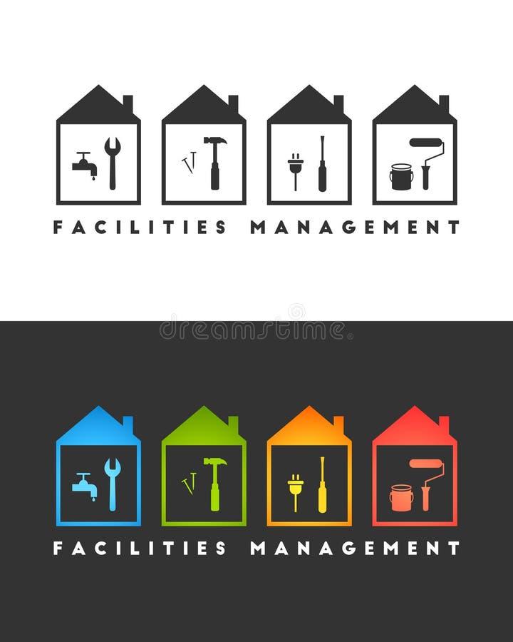 Concepto del logotipo de la gestión de instalaciones con las herramientas ilustración del vector