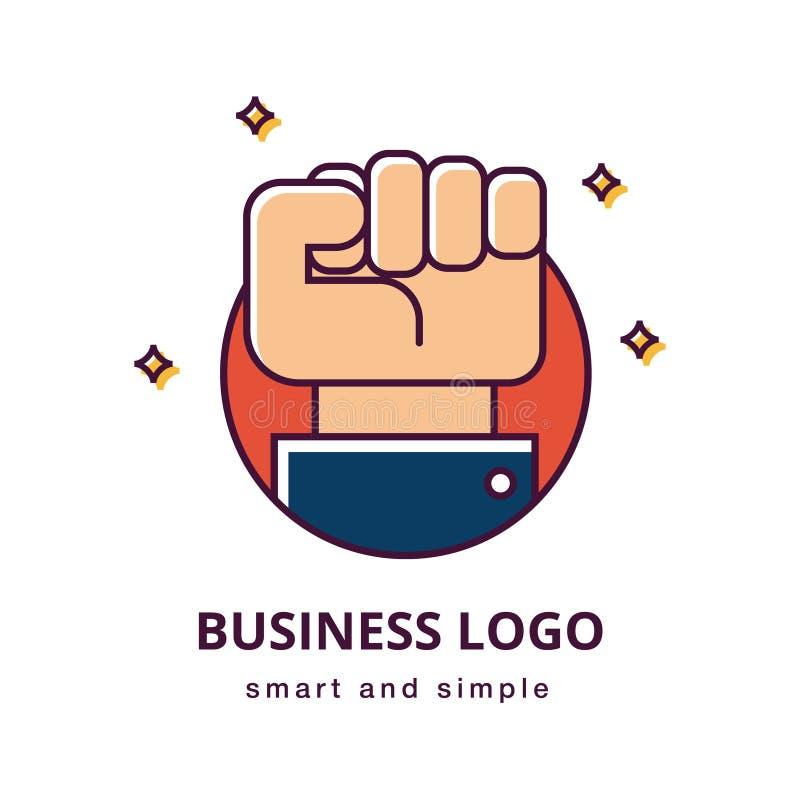 Concepto del logotipo de la motivación del negocio Gesto de mano apretado del puño y manga de un traje Gesto del negocio Icono de ilustración del vector