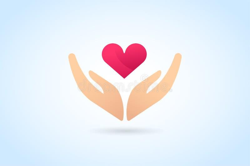 Concepto del logotipo de la silueta del cuidado de las manos stock de ilustración