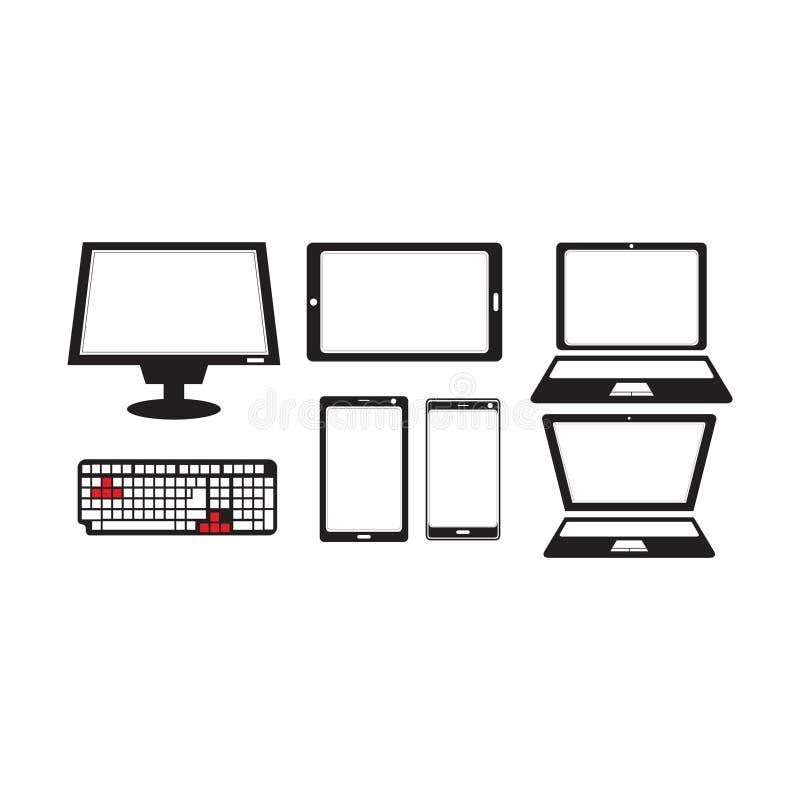 Concepto del logotipo de la silueta de la tableta del smartphone del ordenador portátil del teclado del monitor stock de ilustración