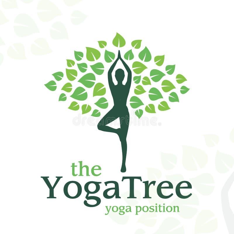 Concepto del logotipo de la yoga del vector diseño de las insignias de la posición del árbol Ejemplo de centro de la salud stock de ilustración