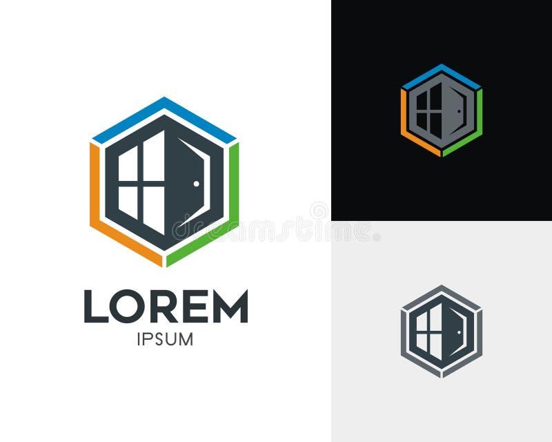 Concepto del logotipo de las propiedades inmobiliarias ilustración del vector