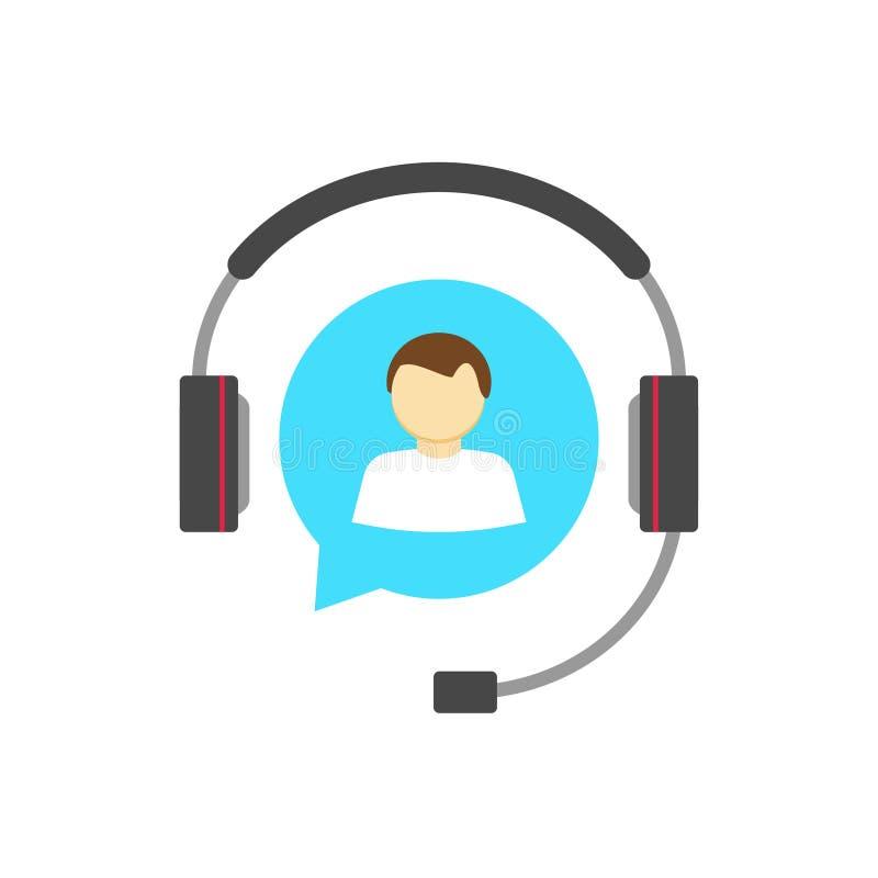 Concepto del logotipo del puesto de informaciones del cliente, icono del vector del servicio de asistencia aislado ilustración del vector