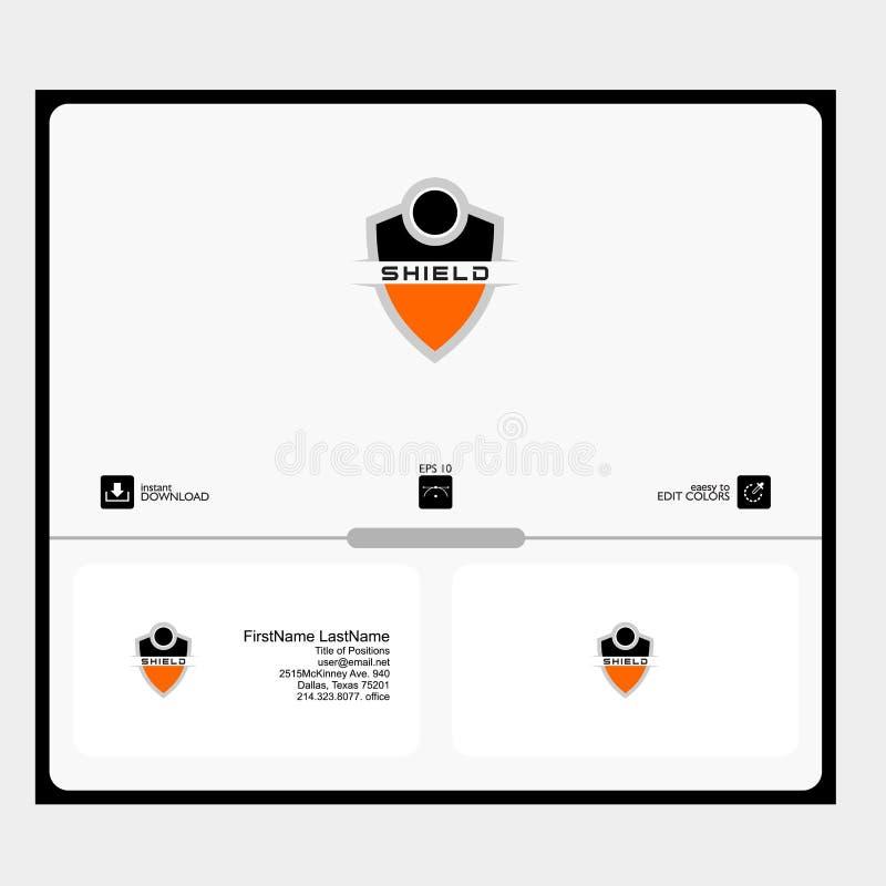 Concepto del logotipo del escudo para el sofwere del producto del scurity stock de ilustración