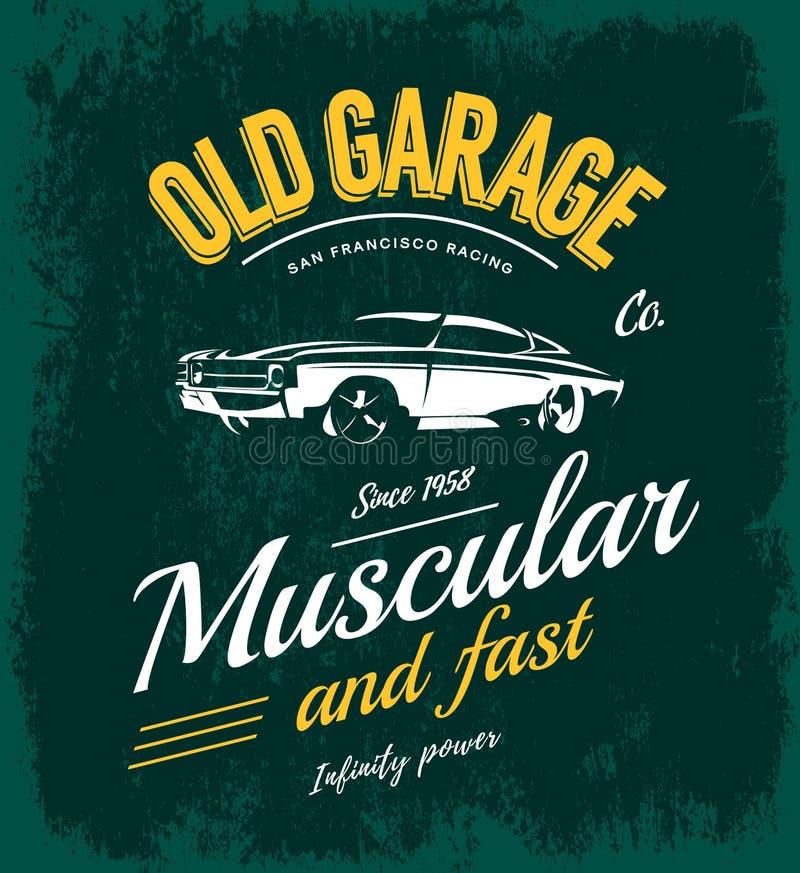Concepto del logotipo del vector del coche del músculo del vintage aislado en verde ilustración del vector