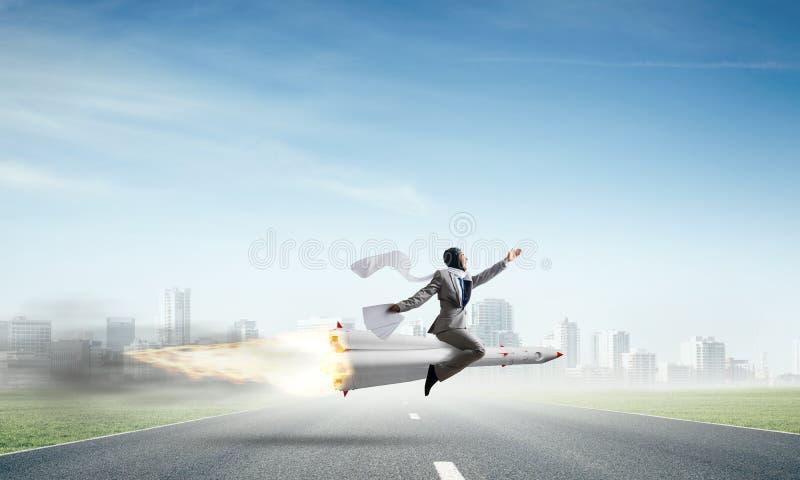 Concepto del logro del éxito empresarial y de las blancos ilustración del vector