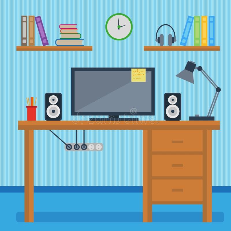 Concepto del lugar de trabajo, diseño en un estilo plano, equipo del lugar de trabajo, ordenador, ordenador portátil, teléfono, c libre illustration