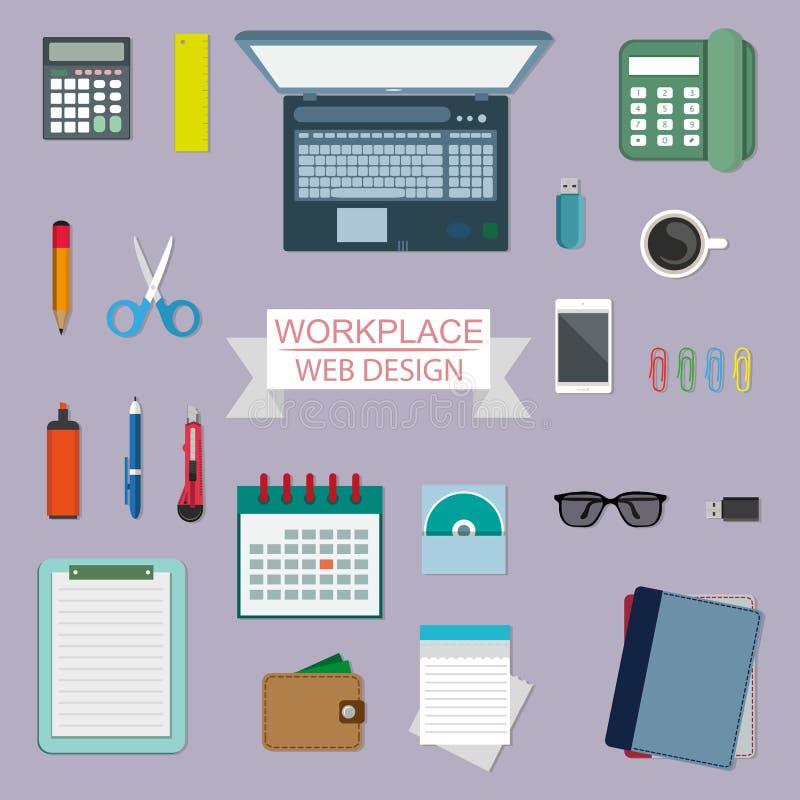 Concepto del lugar de trabajo, diseño en un estilo plano, equipo del lugar de trabajo, ordenador, ordenador portátil, teléfono, c ilustración del vector