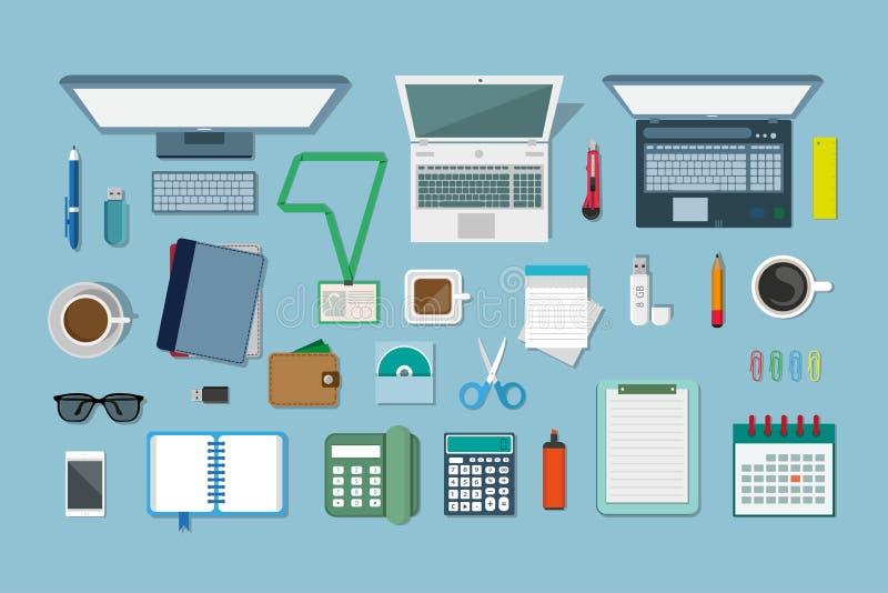 Concepto del lugar de trabajo, diseño en un estilo plano, equipo del lugar de trabajo, ordenador, ordenador portátil, teléfono, c stock de ilustración