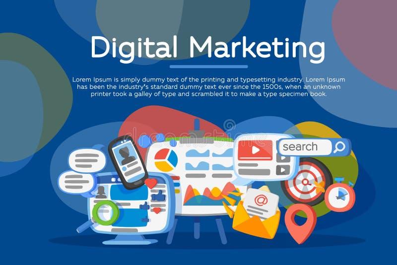 Concepto del márketing de Digitaces Desarrollo de negocios, generación de la ventaja Comunicación social de la red y de los medio ilustración del vector