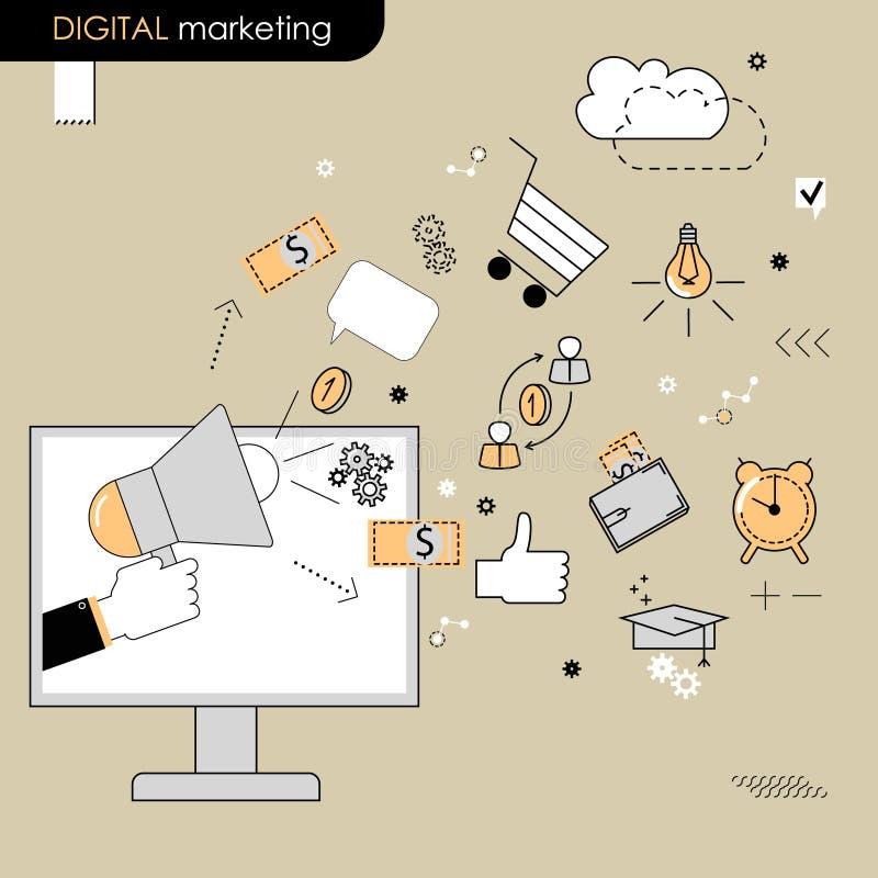 Concepto del márketing de Digitaces La mano que sostiene un megáfono Vector ilustración del vector