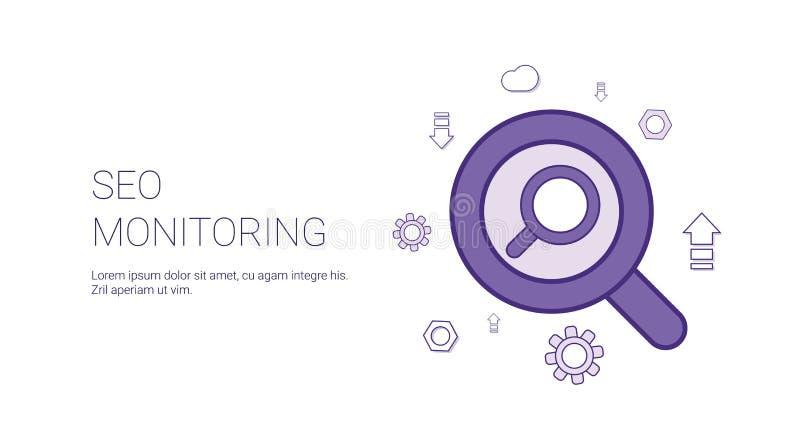 Concepto del márketing de Digitaces del negocio del espacio de la copia de Seo Monitoring Web Banner With ilustración del vector