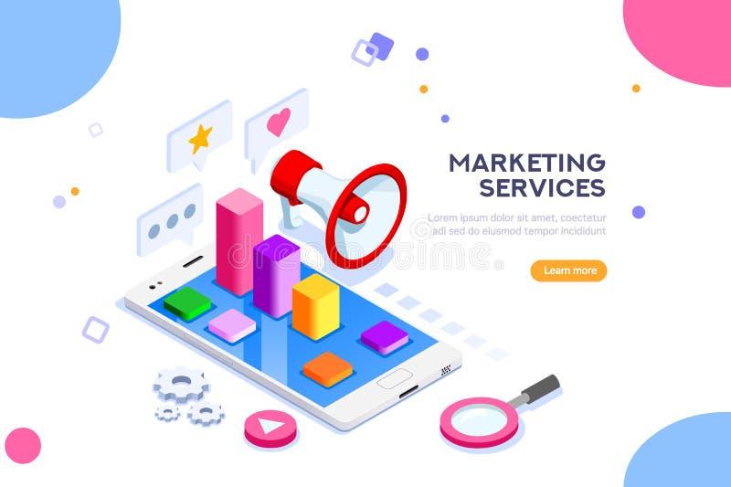 Concepto del márketing de la agencia y de Digitaces ilustración del vector