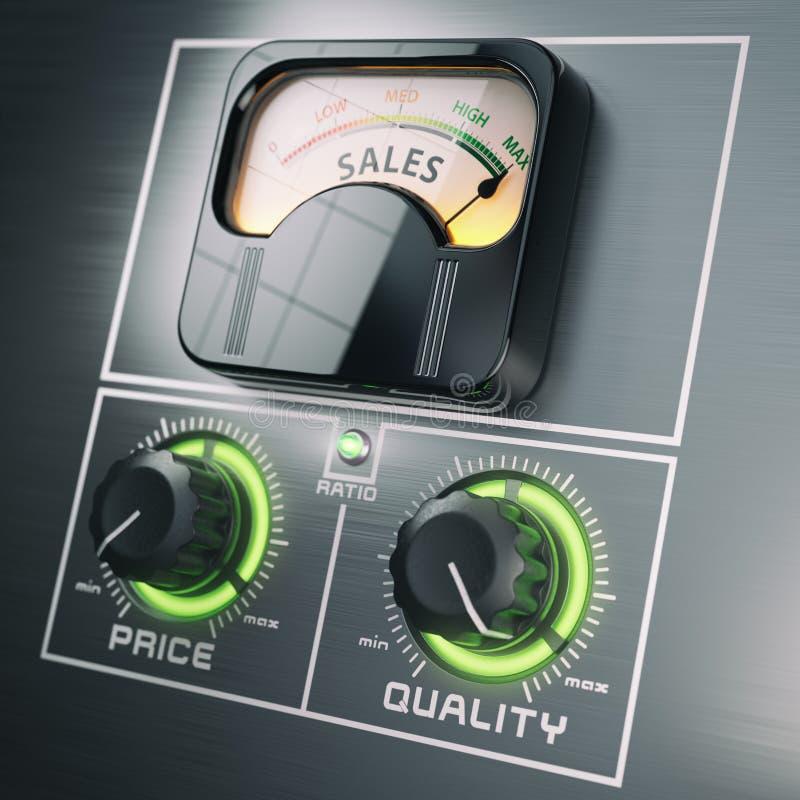 Concepto del márketing del control de ratio de la calidad del precio de venta Sal máxima ilustración del vector