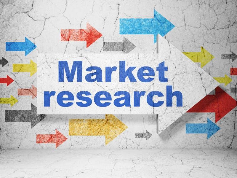 Concepto del márketing: flecha con estudio de mercados sobre fondo de la pared del grunge libre illustration