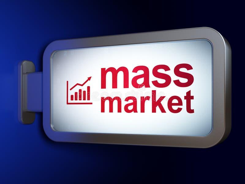 Concepto del márketing: Gráfico del gran público y del crecimiento en fondo de la cartelera ilustración del vector