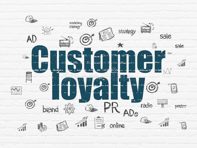 Concepto del márketing: Lealtad del cliente en fondo de la pared stock de ilustración