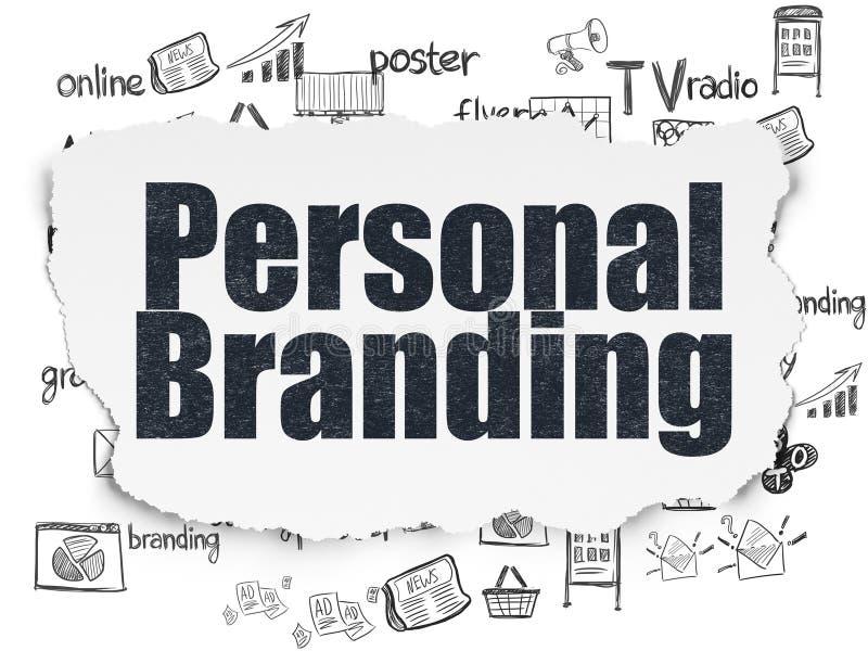 Concepto del márketing: Marcado en caliente personal en fondo de papel rasgado stock de ilustración