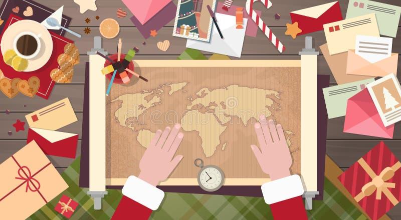 Concepto del mapa del mundo del escritorio de Santa Clause Christmas Cartoon Character que se sienta ilustración del vector