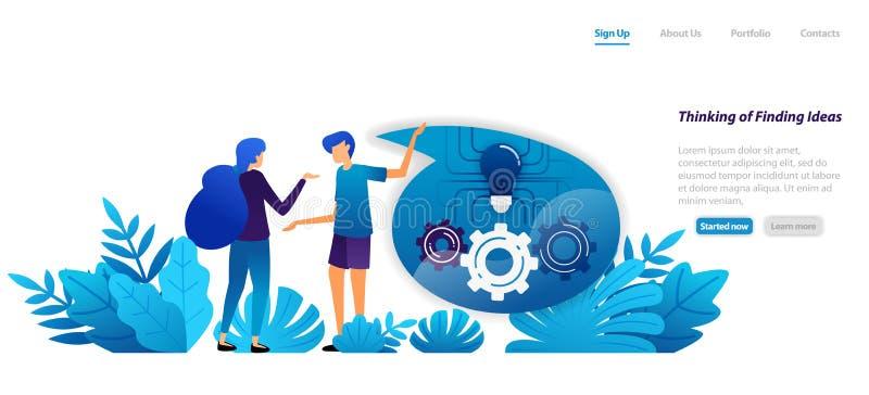 Concepto del mecanismo de pensar y de encontrar ideas, la comunicación y el diálogo para la inspiración concepto plano del ejempl stock de ilustración