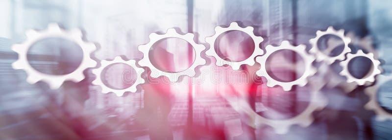 Concepto del mecanismo Engranajes en fondo abstracto del negocio imagenes de archivo