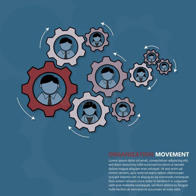 Concepto del mecanismo del movimiento de la organización ilustración del vector