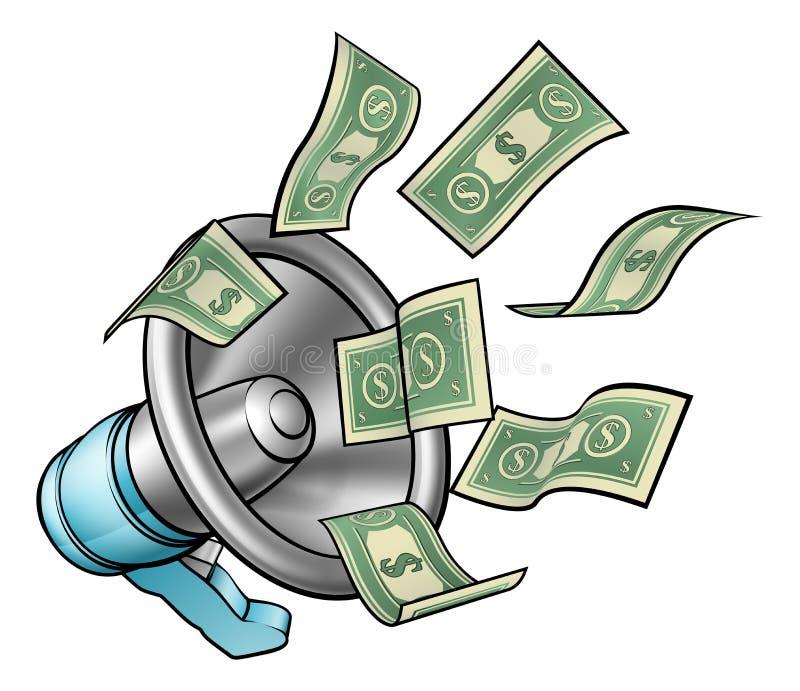 Concepto del megáfono del dinero de la historieta ilustración del vector