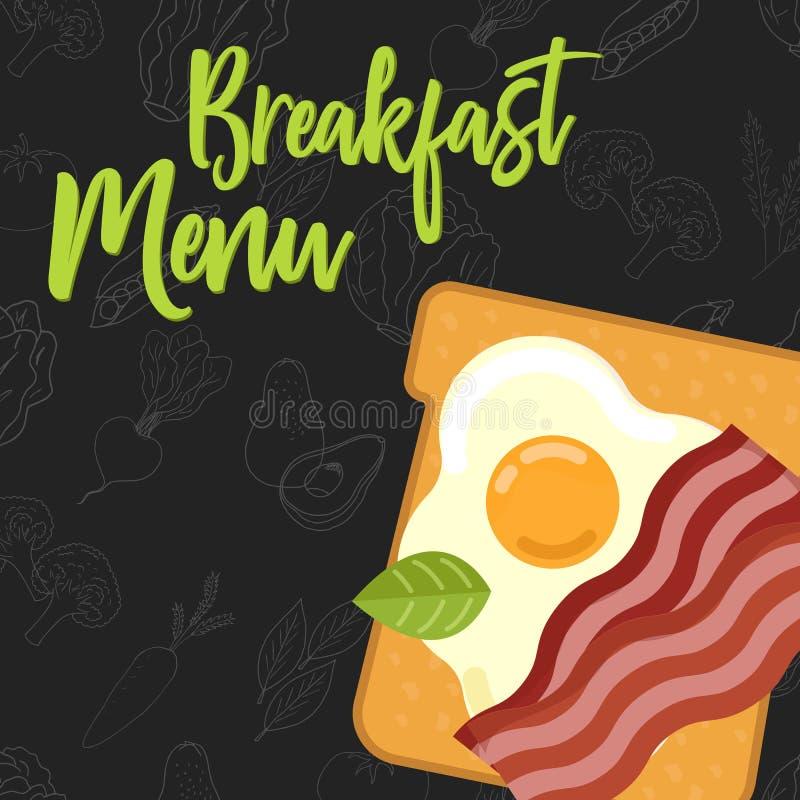 Concepto del menú para la plantilla del menú del desayuno del restaurante y del café Bocadillo plano del estilo stock de ilustración