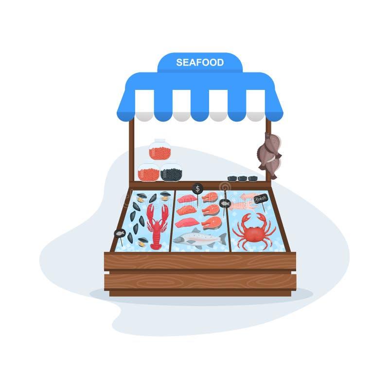 Concepto del mercado de pescados Mariscos en hielo Salmones y at?n ilustración del vector