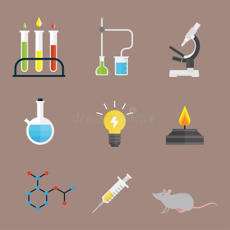 Concepto del microscopio de la molécula del diseño de la biología del laboratorio médico de la prueba de los símbolos del laborat ilustración del vector