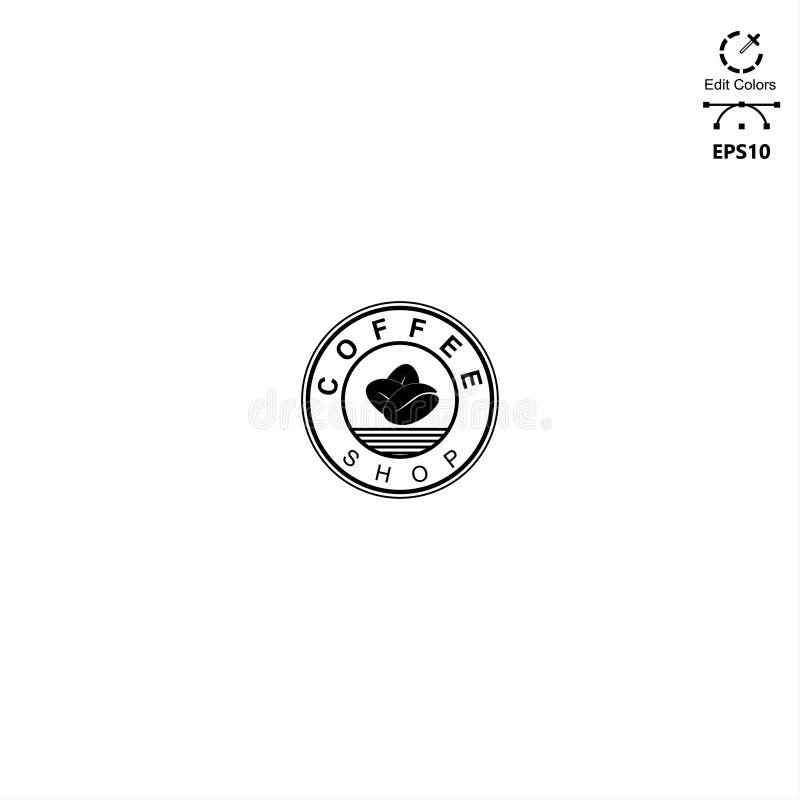 Concepto del monoline del estilo del emblema del logotipo del diseño de la cafetería ilustración del vector