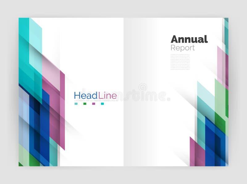 Concepto del movimiento Plantillas de la cubierta del informe anual del negocio stock de ilustración