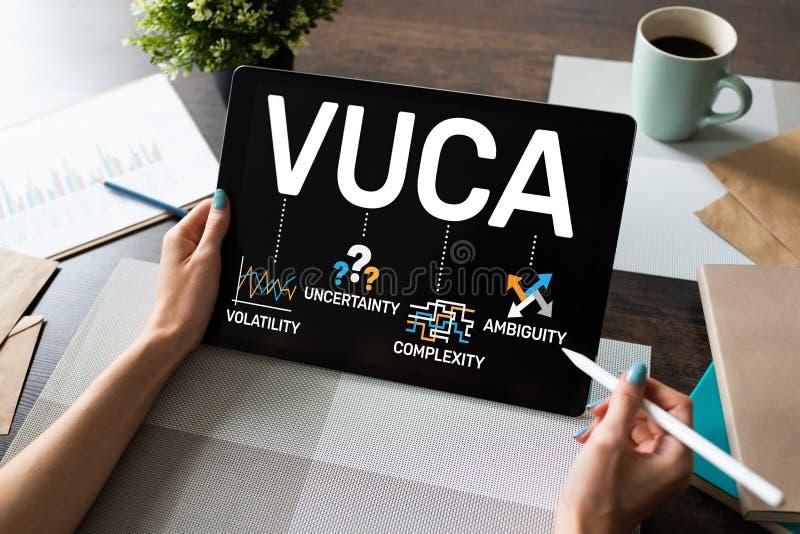 Concepto del mundo de VUCA en la pantalla Volatilidad, incertidumbre, complejidad, ambigüedad imagen de archivo libre de regalías
