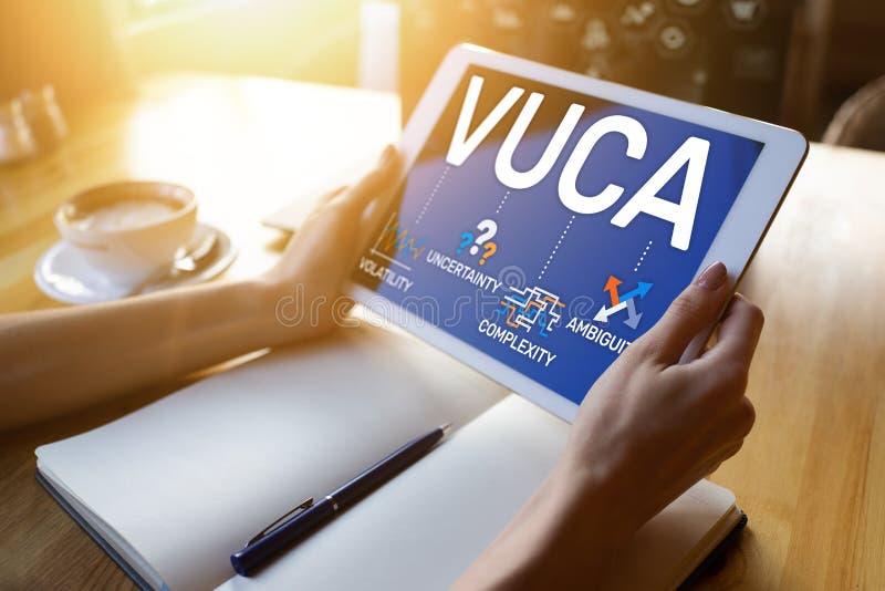 Concepto del mundo de VUCA en la pantalla Volatilidad, incertidumbre, complejidad, ambigüedad fotos de archivo