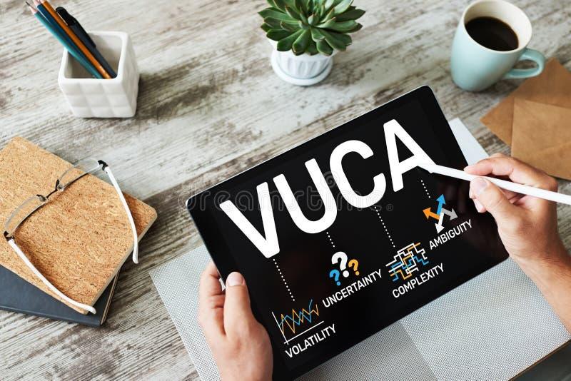 Concepto del mundo de VUCA en la pantalla Volatilidad, incertidumbre, complejidad, ambigüedad fotos de archivo libres de regalías