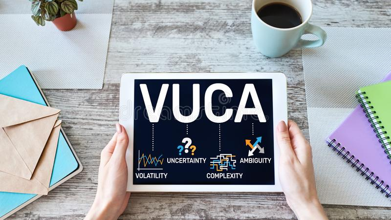 Concepto del mundo de VUCA en la pantalla Volatilidad, incertidumbre, complejidad, ambig?edad foto de archivo