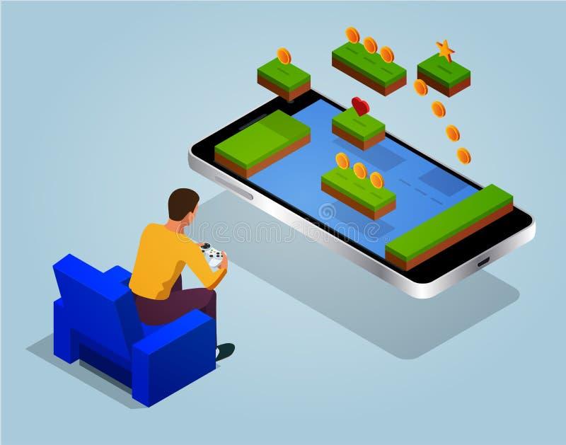 Concepto del mundo del juego de arcada Juego de la pantalla del videojuego y de la persona del videojugador en línea con el teléf ilustración del vector