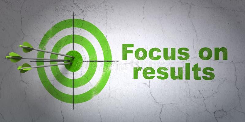 Concepto del negocio: blanco y foco en RESULTADOS en fondo de la pared foto de archivo