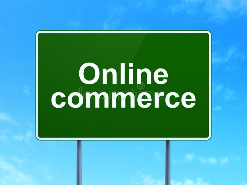 Concepto del negocio: Comercio en línea en fondo de la señal de tráfico libre illustration
