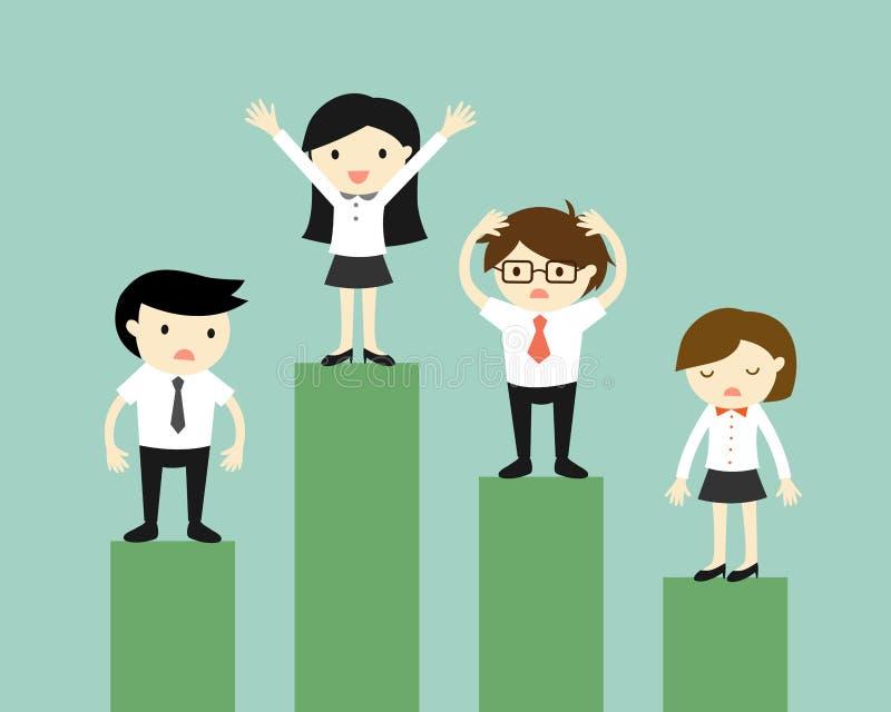 Concepto del negocio, competencia de hombres de negocios stock de ilustración