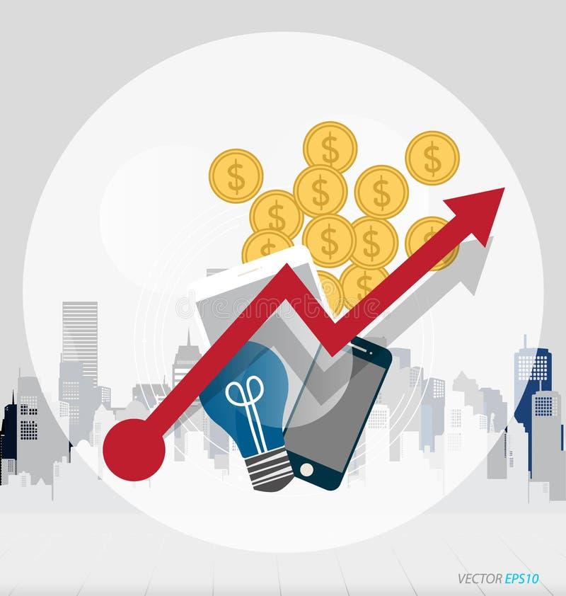 Concepto del negocio con los artículos del negocio (teléfono móvil, globo, dinero stock de ilustración