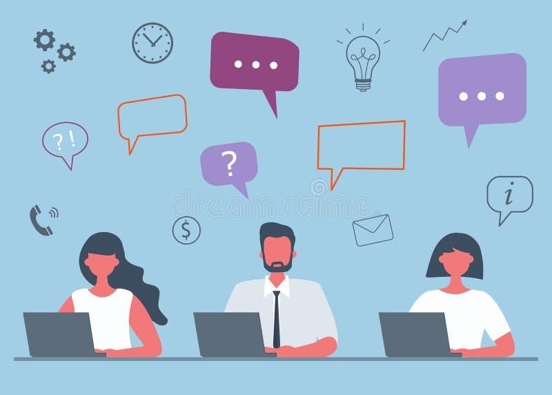 Concepto del negocio con los oficinistas y los iconos libre illustration
