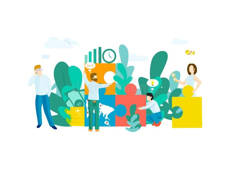 Concepto del negocio con rompecabezas ilustración del vector