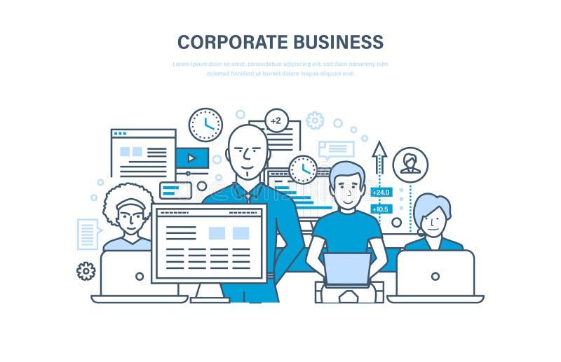 Concepto del negocio corporativo Equipo del negocio, cooperación, colaboración, sociedades, trabajo en equipo stock de ilustración