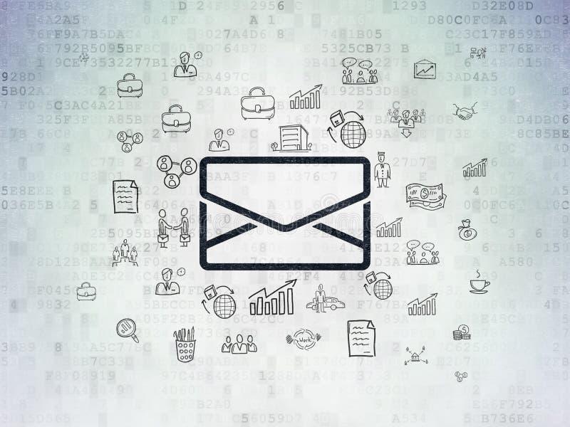 Concepto del negocio: Correo electrónico en fondo del papel de datos de Digitaces imágenes de archivo libres de regalías