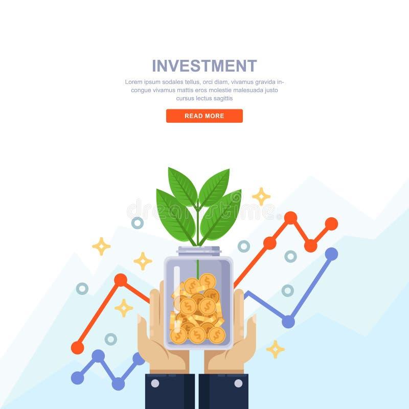 Concepto del negocio del crecimiento de la inversión y de las finanzas Dé sostener la botella clara con las monedas y el árbol ve ilustración del vector