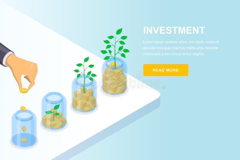 Concepto del negocio del crecimiento de la inversión y de las finanzas Ejemplo isométrico del vector 3d Bandera, plantilla de ate ilustración del vector