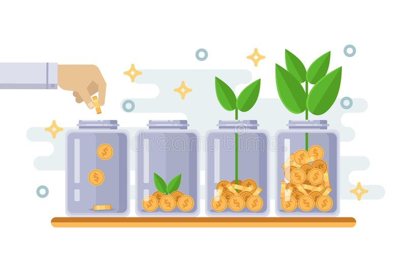 Concepto del negocio del crecimiento de la inversión y de las finanzas Mano que pone la moneda en botella clara Ejemplo aislado p libre illustration