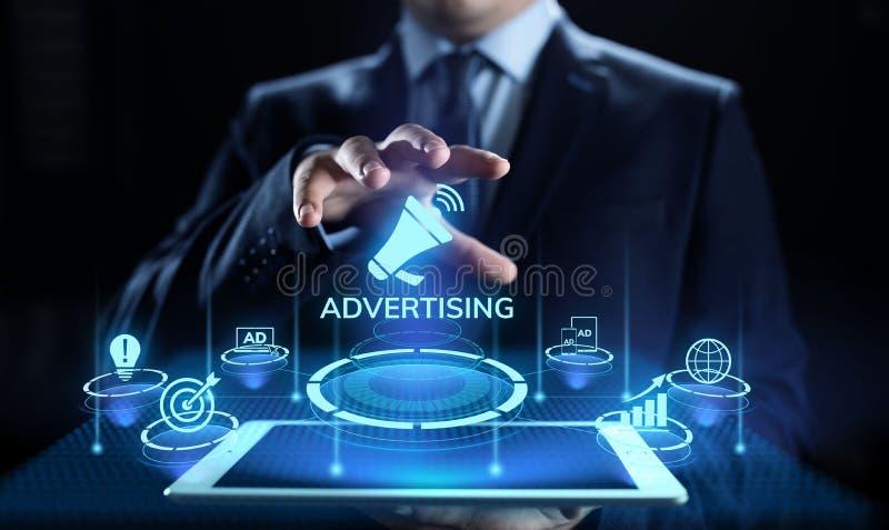 Concepto del negocio del crecimiento de las ventas del márketing de publicidad en la pantalla imagen de archivo libre de regalías